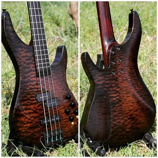 Quilted Mahogany 4 String Bass - Custom Guitar