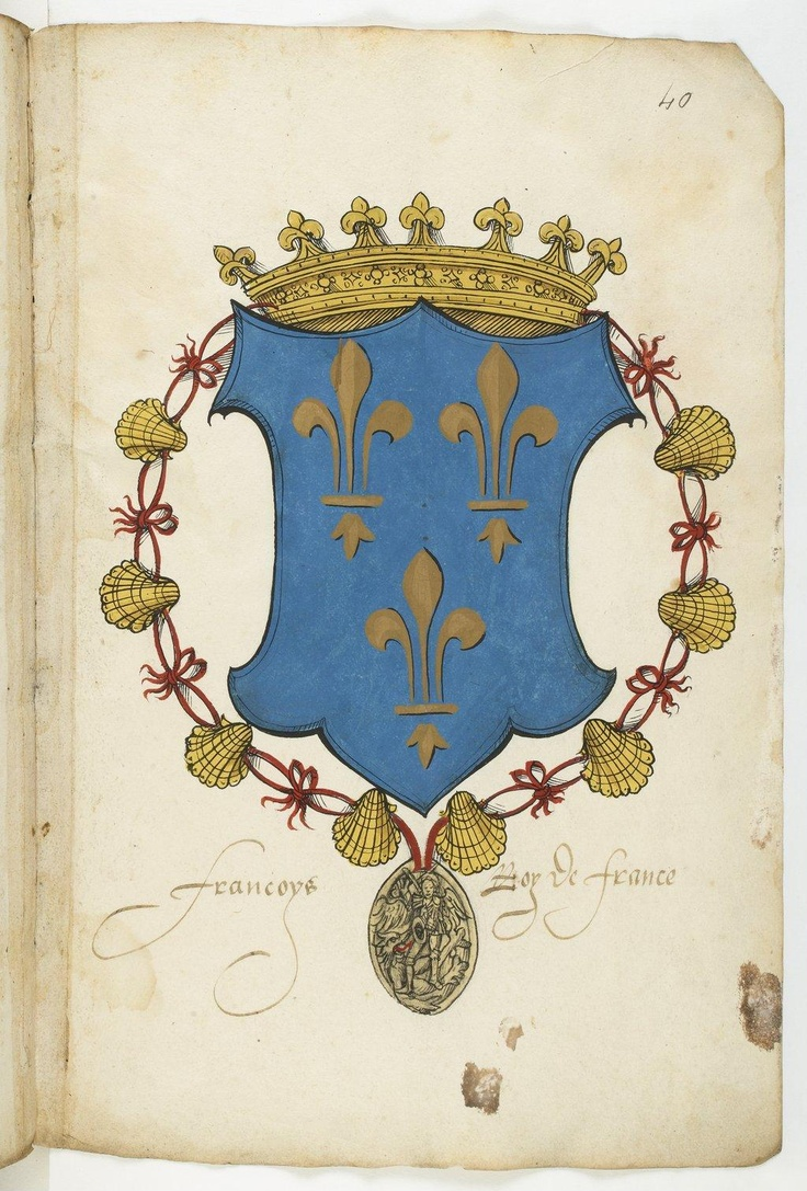 Armorial colorié de la Maison de Savoie et de ses alliances, depuis Bérold, comte de Maurienne, jusqu'aux enfants de Philippe II, comte de Bresse, et François Ier, roi de France, son petit-fils. Ici, le Roy de France.
