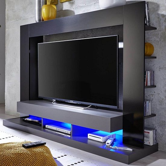 Stamford Entertainment Unit In Black Gloss Fronts With Shelving - High Gloss TV Stands, Black, White, Furnitureinfashion UK