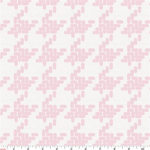 Pink Modern Houndstooth Fabric by Carousel Designs.