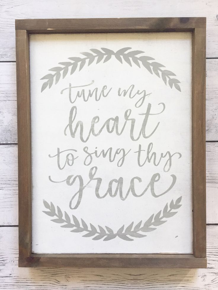 "Distressed Christian Wood Sign - ""Tune my heart to sing thy grace"" - Rustic Home Decor by juneandkatehome on Etsy https://www.etsy.com/listing/481040160/distressed-christian-wood-sign-tune-my"