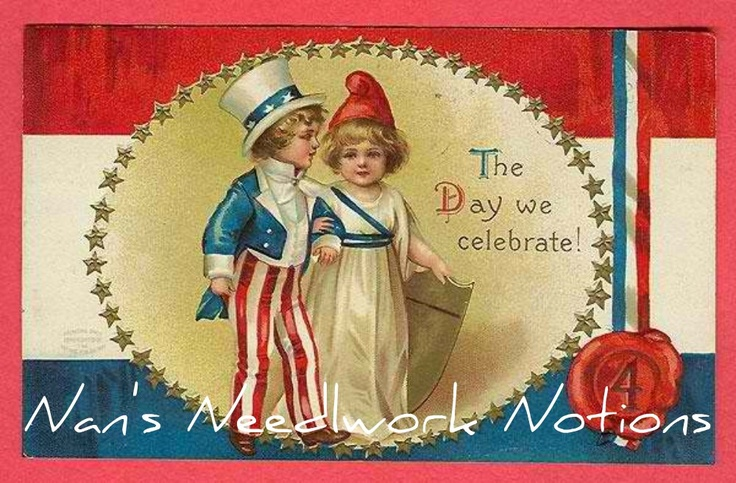 Nan's Needlework NotionsVintage Postcards, Vintage Ephemera, Fourth Of July, Vintage Wardrobe, 4Th Of July, July 4Th, Independence Day, Vintage 4Th, Vintage Image