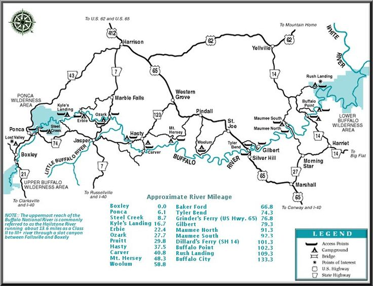 Buffalo National River map courtesy of Arkansas Department of Parks and Tourism