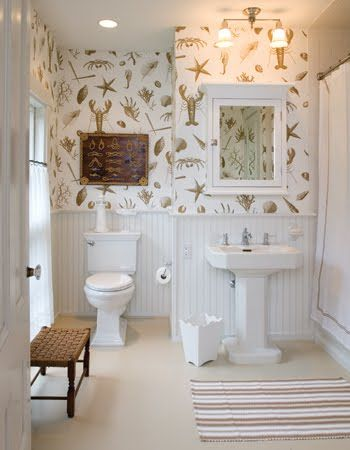 I love this wallpaper even though it's a little corny.  It looks great in this fresh white powder room.