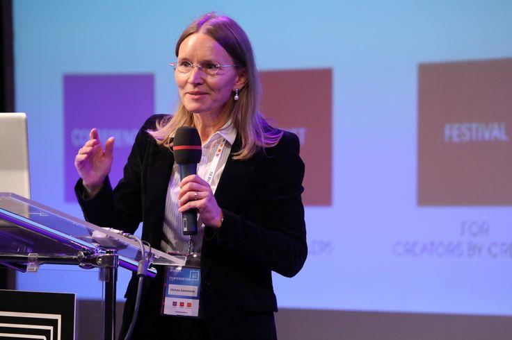 Christa Sommerer (Austria) during her presentation at Filmteractive Festival