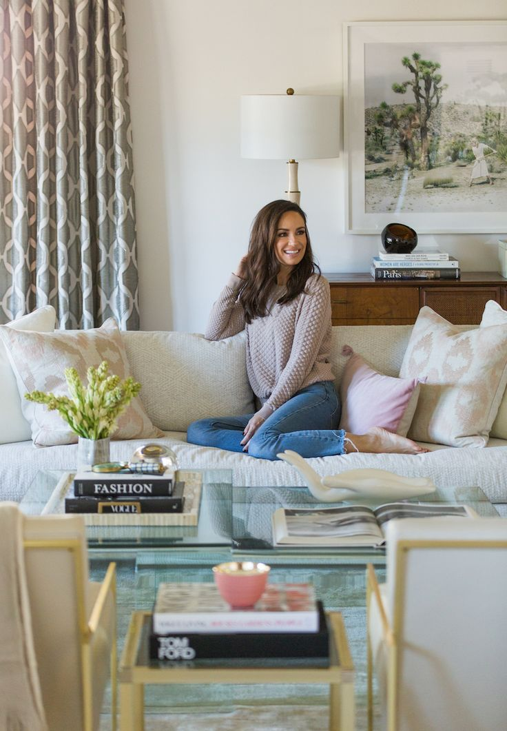 Catt Sadler's luxe living room: Photography : Dustin Walker for Laurel & Wolf Read More on SMP: http://www.stylemepretty.com/living/2017/03/15/peek-inside-the-new-luxe-living-room-of-e-news-catt-sadler/