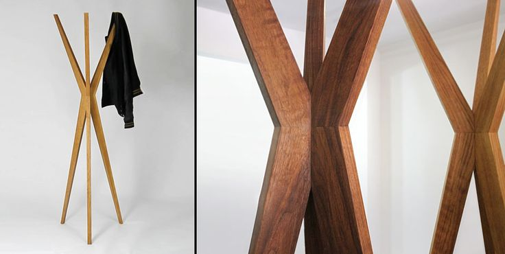Fyra Coat Stand - This dynamic piece looks outstanding in solid oak or walnut.