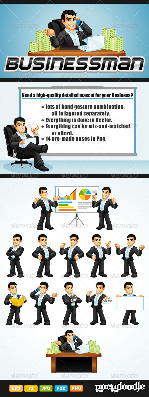 Businessman Mascot Pack high-quality detailed mascot available with 14 poses but you can also create more than 14 poses by combining some elements of arm action poses and face expressions.
