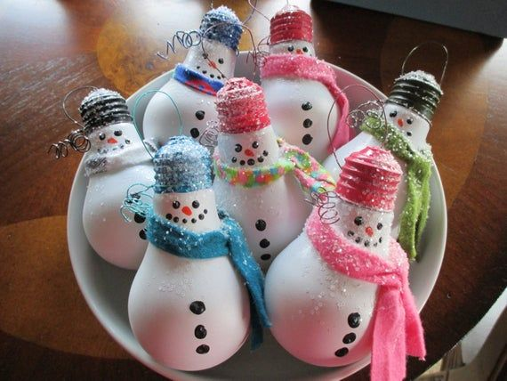 Snowman Ornament-Christmas Ornament-Co Worker Gift-Ornament Exchange-Repurposed Lightbulb Ornaments-Handpainted Snowman Ornaments