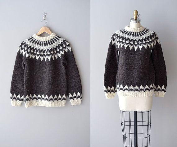 fair isle sweater / 60s wool ski sweater / Lopapeysa by DearGolden