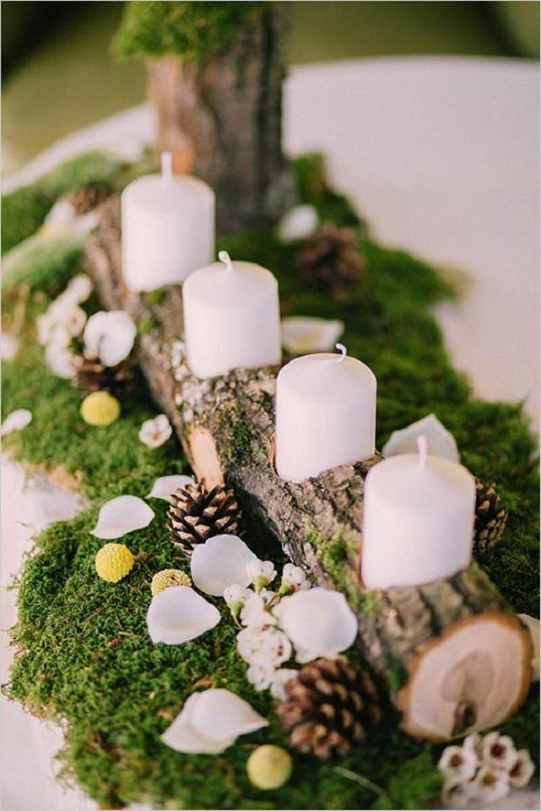 Rustic wooden candle holder wedding decor ideas / http://www.deerpearlflowers.com/woodland-wedding-table-decor-ideas/
