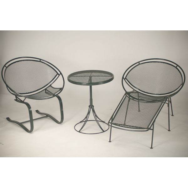 Three Pieces Mid Century Modern Wire Mesh Patio Furniture.