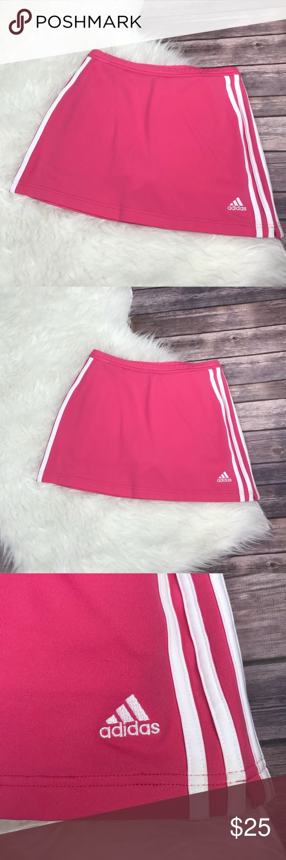 Adidas  Pink Mini Skirt With Shorts Tennis Skirt -Adidas  -Bright Pink -Tennis Skirt -Shirt / Skort  -Like New -Small Pick On Back (Pictured) -Size Small -Climate -13.5 Inches Wide -14.5 Inches Long -Has shorts Underneath -Clima365 adidas Skirts