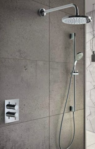 Hotbath IBS 2A Get Together inbouw doucheset Laddy met 2-weg stop-omstel vierkante achterplaat. Wel met staafmodel handdouche. Achterplaat is willekeurig in douche te plaatsen.