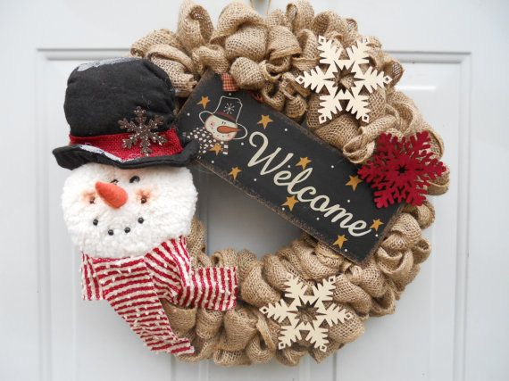 Country christmas winter burlap door wreath by for How to decorate a burlap wreath for christmas