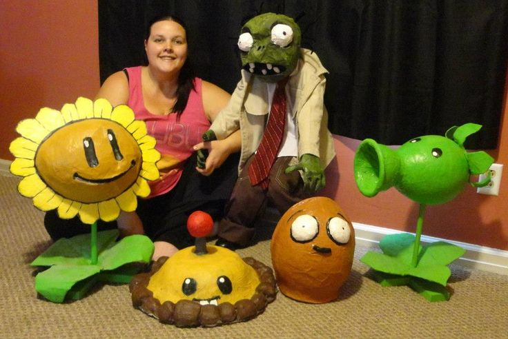 "Paper Mache ""Plants Vs. Zombie"" characters (Sunflower, Potato Mine, Zombie, Wall-nut and Pea Shooter) 2012"