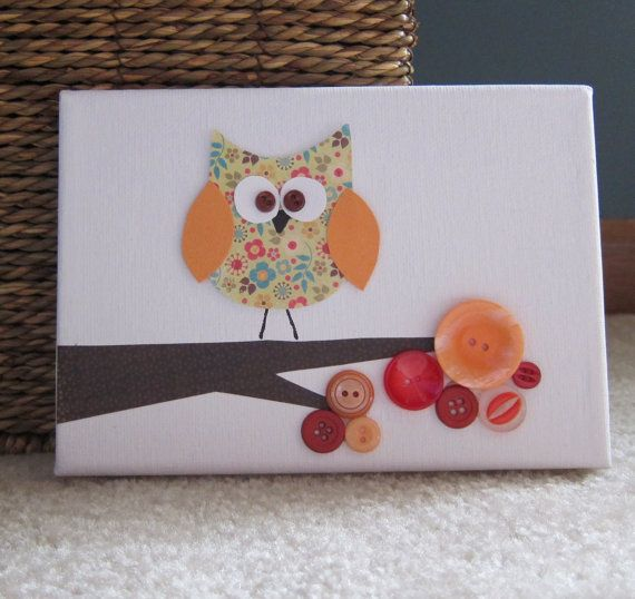 Children's Room Canvas Art, Nursery decor,  5 x 7, owl on tree branch, red and orange, cute as a button