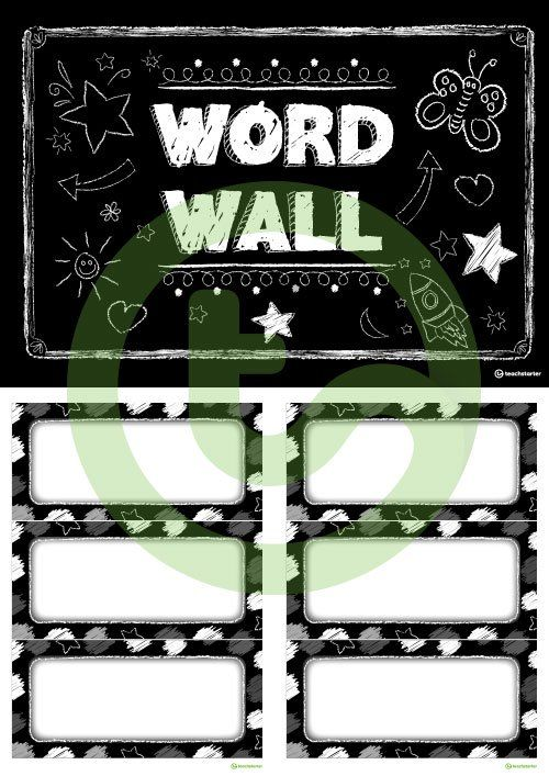 funky chalkboard bw word wall template teaching resource