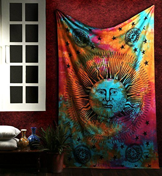1 X Psychedelic Celestial Sun Moon Stars Tie Dye Tapestry Hippie Hippy Sun-moon Celestial Wall Hanging Indian Tapestry By Rajrang