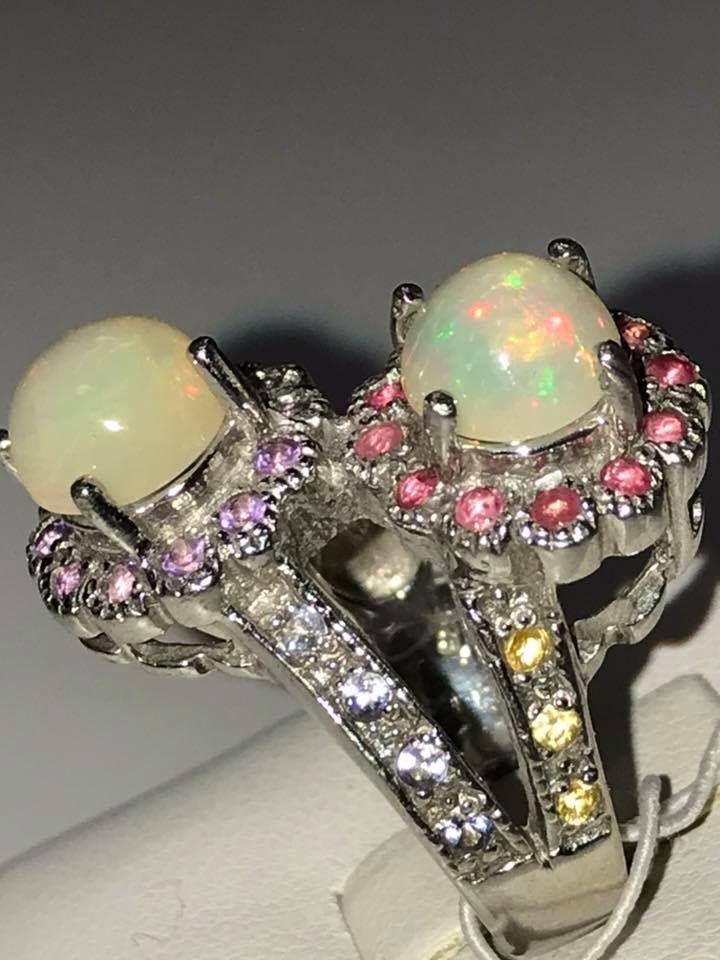 New 925 Silver TOP GEM Ethiopia Welo Fire Opal Ruby Amethyst 8