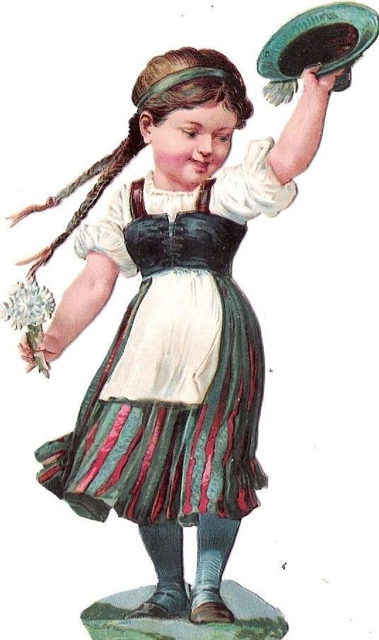 Oblaten Glanzbild scrap die cut chromo Kind child Tracht national