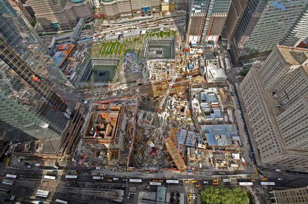 Aerial view of the construction at the World Trade Center.