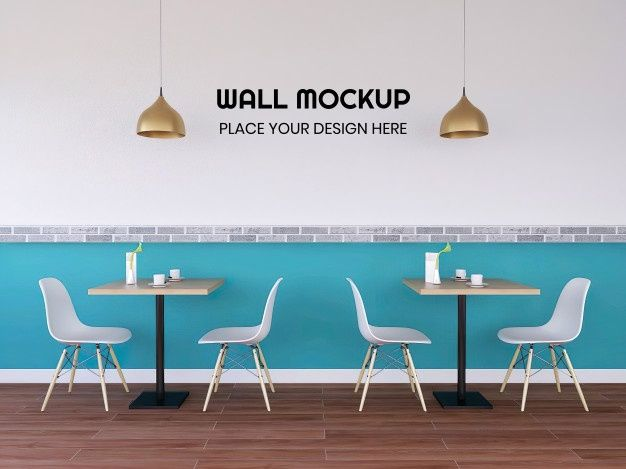 Modern Interior Cafe Wallpaper Mockup Modern Interior Restaurant Interior Interior
