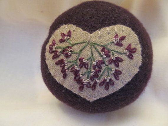 Rich Plum Wool Pincushion with Tan Heart Sewing ToolSewing