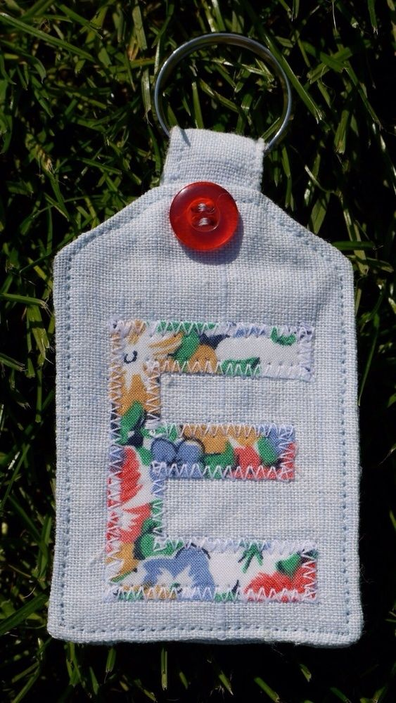 Key Fob Handmade Linen Vintage Personalised Blue Floral £3.00