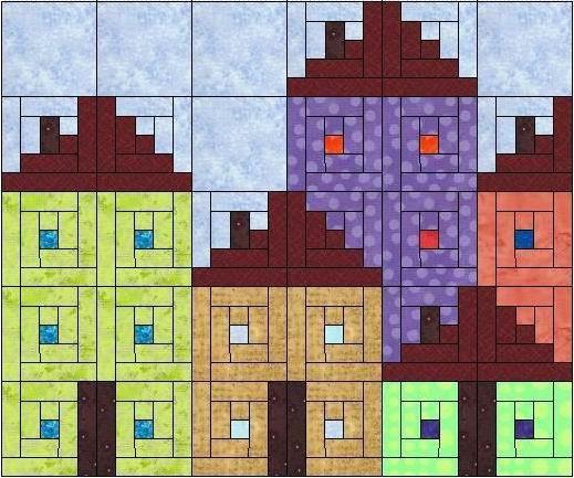 小木屋房屋提袋--A面設計圖  Log cabin bag---Side A Pattern  pin from:http://blog.xuite.net/grace_workingroom/twblog/127690305