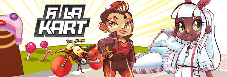 """A LA KART is a food fight-themed kart racing card game inspired by """"Mario Kart"""" and """"Sugar Rush.""""  - Blast ahead with a Super Mushzooms! - Launch Pasta Shells to knock karts out of your way! - Drop Ol"""