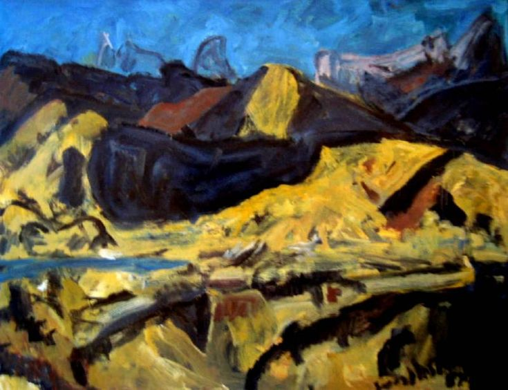 River and mountain landscape, Oil on board, 88 x 118 cm by Tosswill Woollaston, 1910-1998, NZ