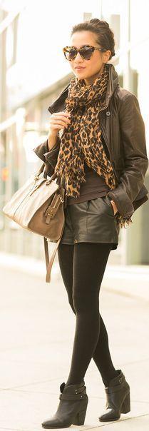 кожаные шорты + кожаная куртка