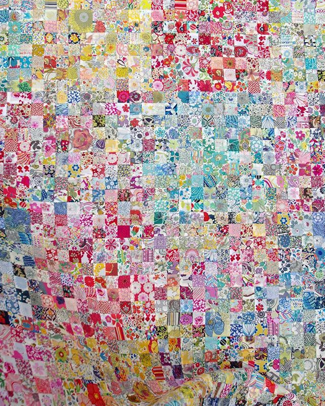 """from Red Pepper Quilts More of my MIL's (@misscocodear) Liberty Quilt. 3600 handpieced 1"""" squares (60"""" x 60""""). #libertyoflondon #libertyfabric #handpiecing #patchwork"""