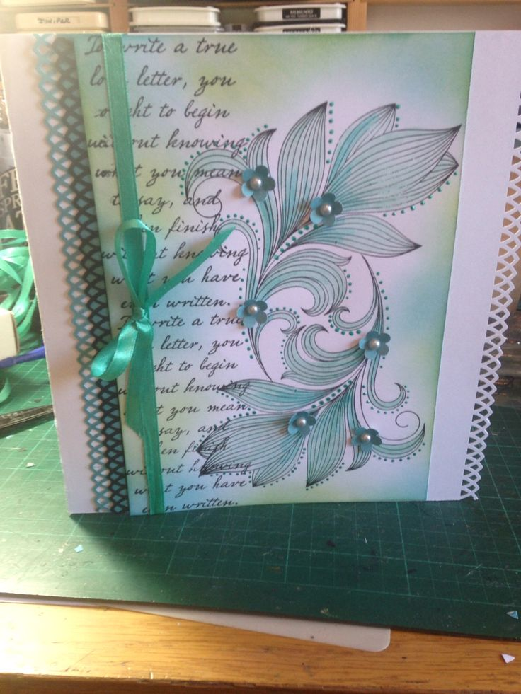 Honey Doo leaf stamp and Tim Holtz wording coloured with distress inks