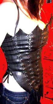 corset from recycled bicycle tire inner tubes!