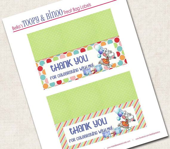 Toopy and Binoo Birthday Party Foldable tent cards
