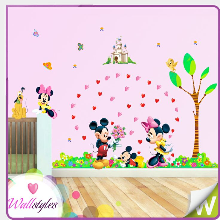 Minnie mouse bedroom decor minnie mouse wall stickers decor decal mural gift nursery kids for Disney wall stickers for kids bedrooms