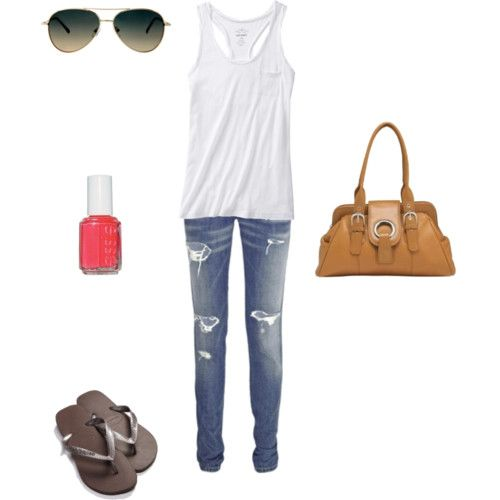 I basically want to live my life in this outfit. Ripped denim, a loose tee or tank, avators and an awesome purse.