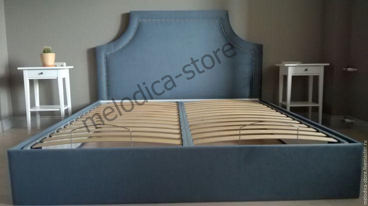 Купить Кровать Cremona - синий, кровать, двуспальная кровать, кровать на заказ, изголовье, изголовье кровати