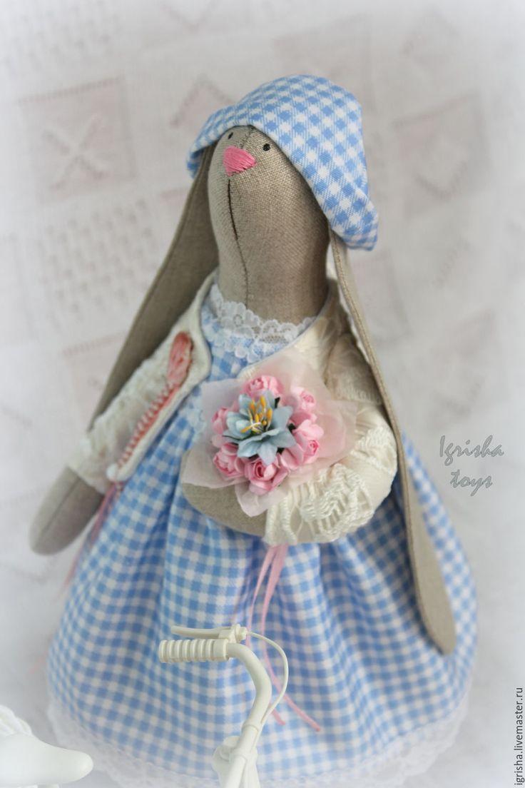 Купить Зайка Настасья - голубой, заяц тильда, тильда заяц, тильда, зайка, интерьерная игрушка
