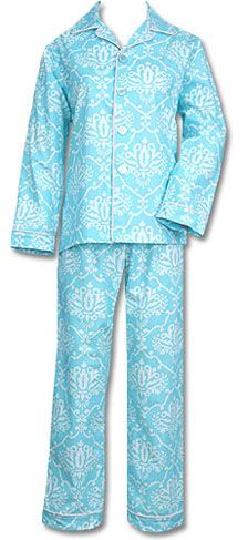 "The Cat's Pajamas Women's ""Beach"" Damask Poplin Pajama Set"