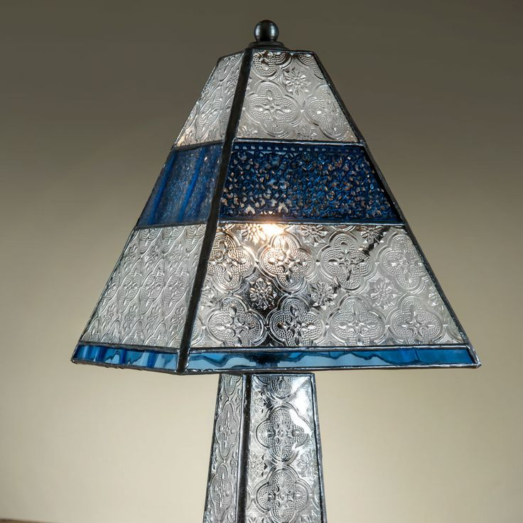 The J Devlin Pale Blue Stained Glass Table Lamp Has A Tapered, Rectangular  Shape. It Is Four Sided, With Textured Frosted And Clear Glass Floral  Patterns ...