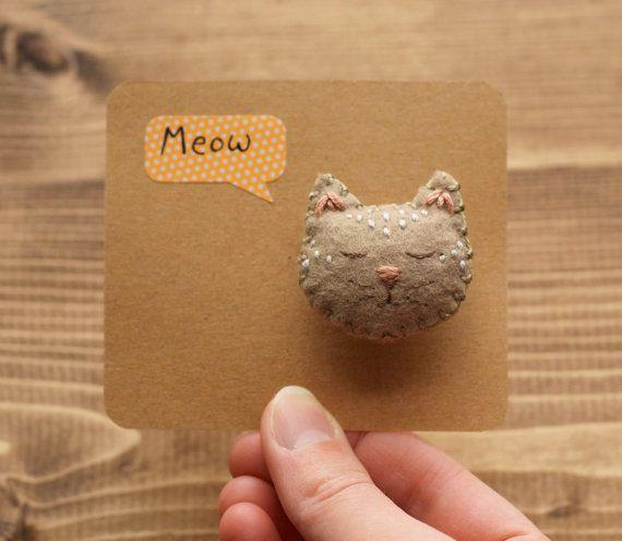 Sleepy Cat Brooch, Handmade Felt Cat Pin, Grey Tabby Cat, Kitty, Hand Embroidered, Cat Lover, Animal Jewelry, Animal Brooch, Hand Sewn, Soft...