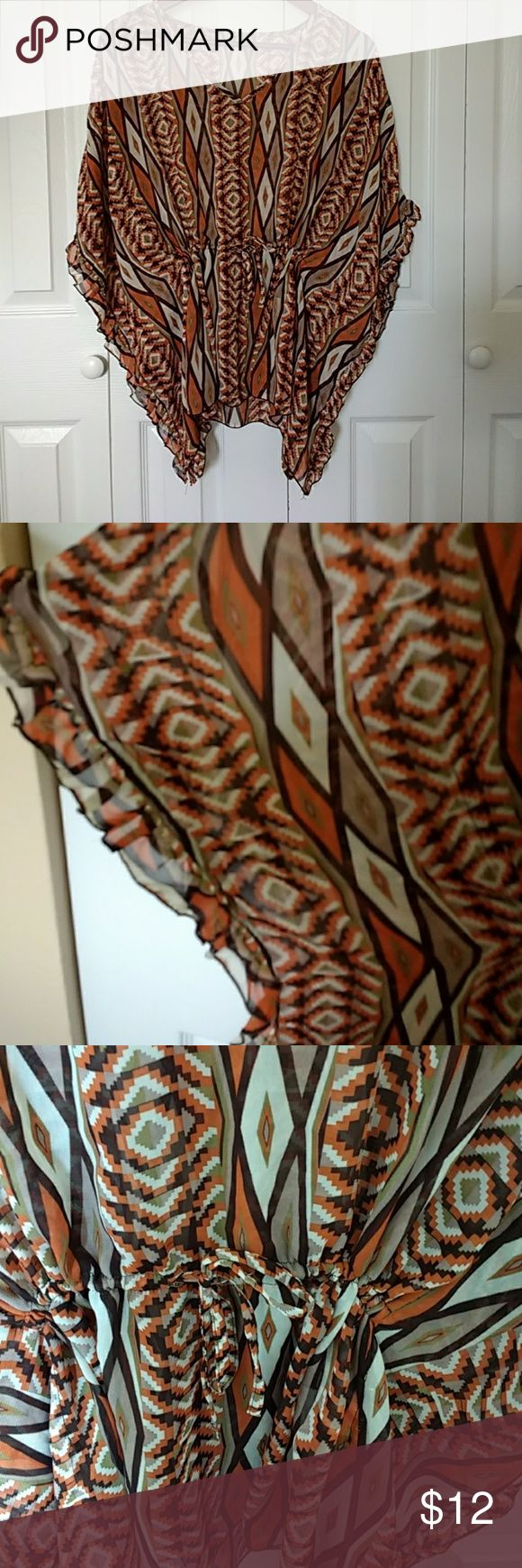 Antraci aztec printed batwing sheer shirt sz large Adorable fall colored aztec print Antraci sheer batwing shirt with drawstring waist detail  size large Antraci Tops Blouses