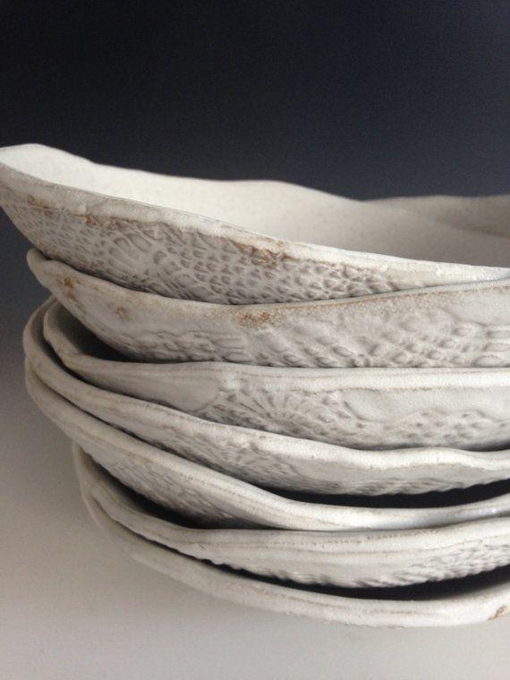 Ceramic white plates set of 4  Tableware Pasta by BlueDoorCeramics