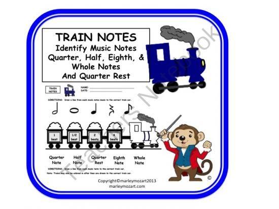 FUN NOTE VLAUE TRAIN WORKSHEET! W Answer Key! And Great ...