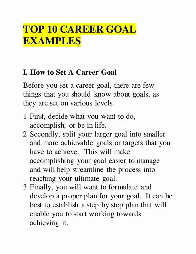 10 Year Career Plan Template New Top 10 Career Goal Examples Career Goals Examples Career Plan Example Essay Example