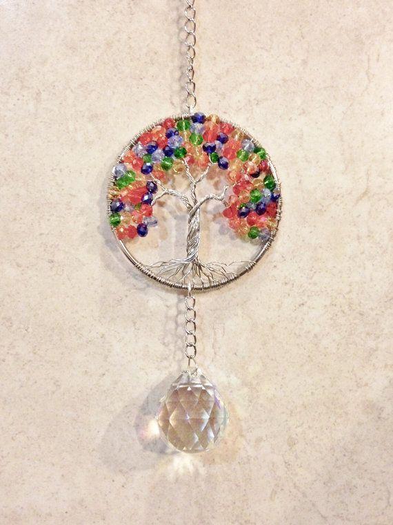 Tree Of Life Suncatcherchakra Crystal Window Ornamentbeaded Etsy Crystal Suncatchers Chakra Crystals Tree Of Life