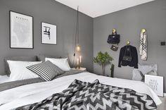 Sovrum i grått